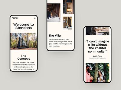 Poshtel - Mobile Explorations platform corporate editorial website design ux minimal interface ui web