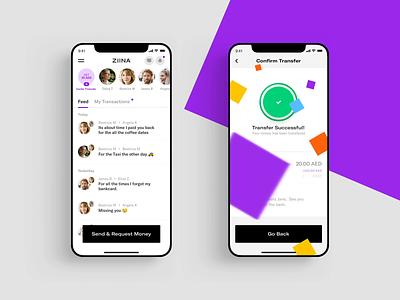 Ziina - App Screens startup peer to peer platform loader mobile payment finance money transfer banking app