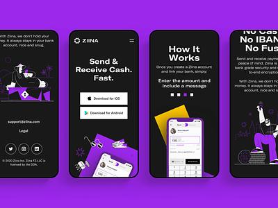 Ziina - Landing Page branding payment finance tech application app platform website design interface ui web