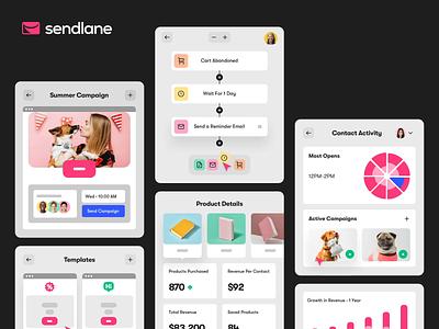 Sendlane - Product Shots Part 1 saas landing page saas design saas corporate widget snippet product shot illustration web
