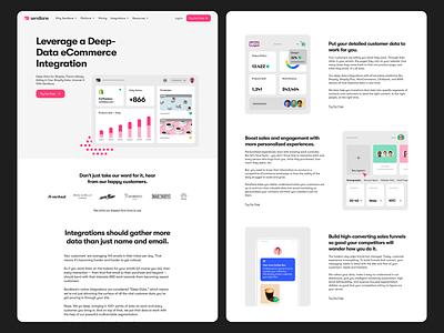 Sendlane - Solution Pages platform corporate website design ux minimal ui interface web
