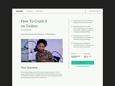 Teachable Discover saas teachable video course design editorial platform minimal interface ui web
