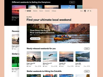 WKND - Discover saas app web app booking travel app saas adventure design platform interface ui web