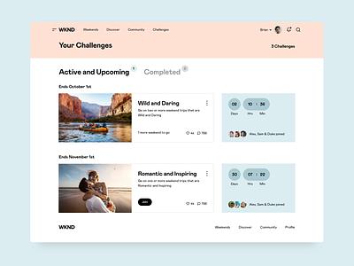 WKND - Challenges ux weekend saas app saas travel app travel platform interface ui web