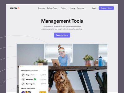 Glofox - Solution Pages corporate solution fitness gym platform saas interface web ui