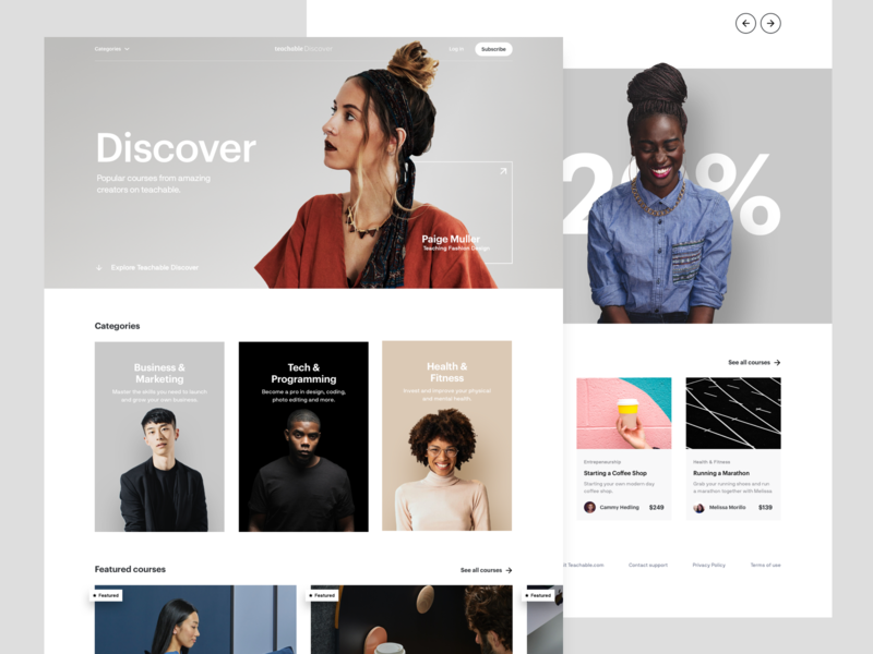 Teachable Discover - Homepage cards platform ux  ui courses ux minimal interface ui web