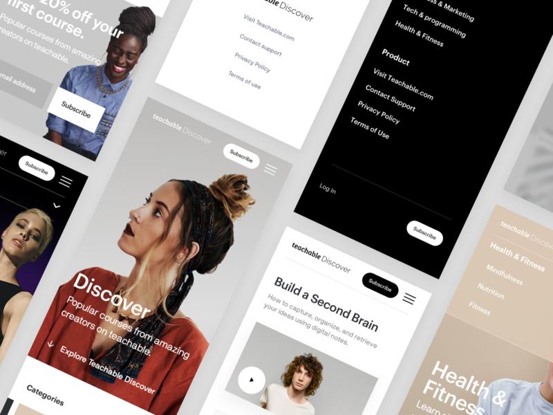 Teachable Discover - Mobile business corporate platform courses minimal editorial design ux interface ui web