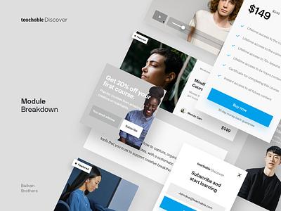 Teachable Discover - Module Breakdown corporate design platform ux components business mobile modules interface ui web