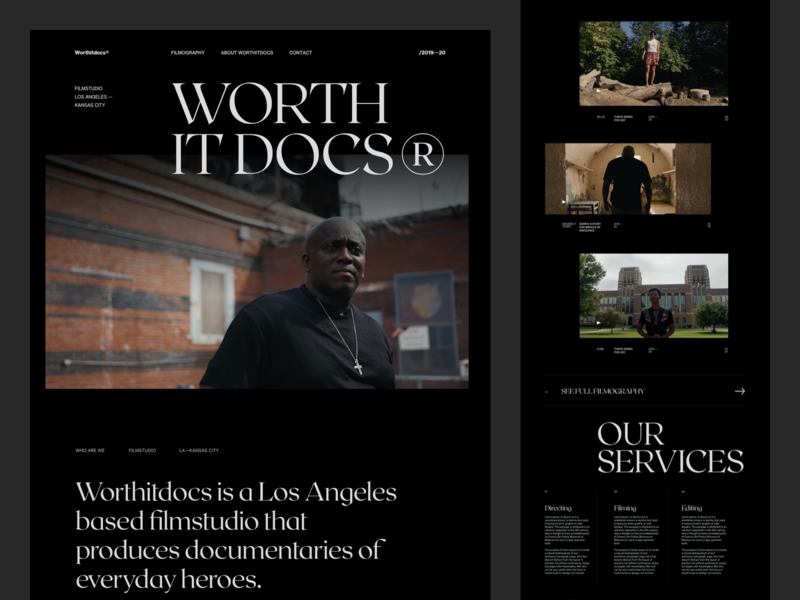 Worthitdocs Exploration website black dark editorial design ux minimal interface ui web