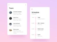 Fitness App | Schedule & Team