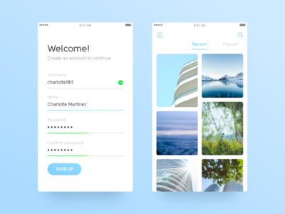 Sign Up & Photos sign in sign up ux android ios navigation social photos feed mobile app ui