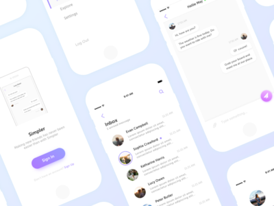 Chat inbox menu message navigation social chat android ios mobile app ux ui
