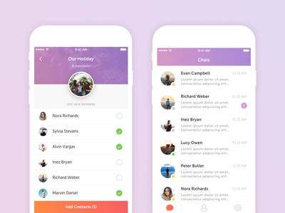 Chat group chat conversation ios mobile contacts social ux ui chat
