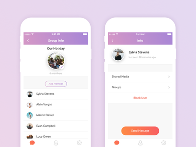 Chat | Group & Profile Info group chat messenger information conversation ios mobile contacts social ux ui chat