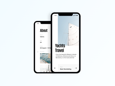 Yachts Travel iphone x concept social text like favorites profile about button travel next ios
