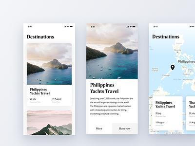 Choose your destination choose travel photo booking map concept ios cards ui