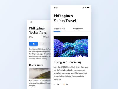 Some travel blog like text travel book ux social blog concept ui