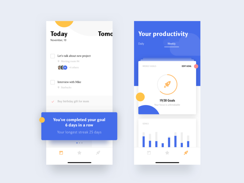 Task Manager planner cards design illustration mobile goal productivity shedule tips stats list todo app todo task ios ui