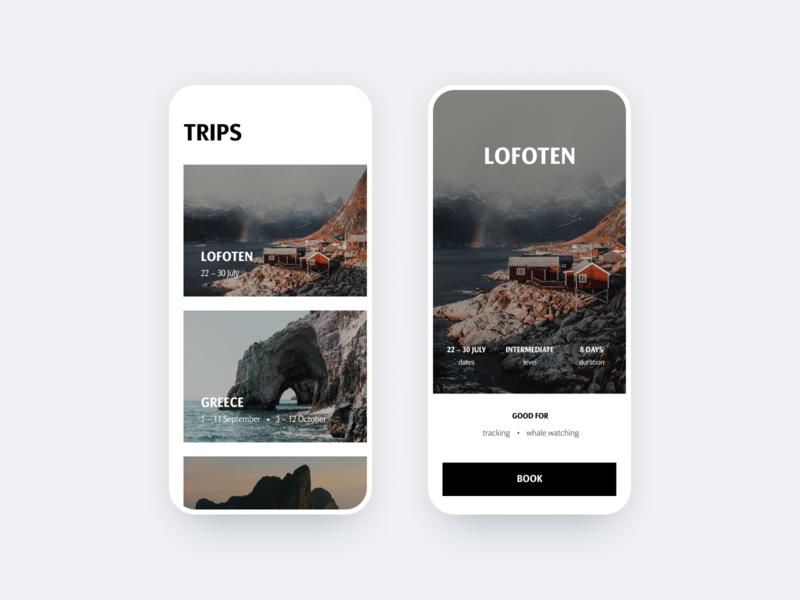 Choose & Book travel app travel book cards app ios mobile ui