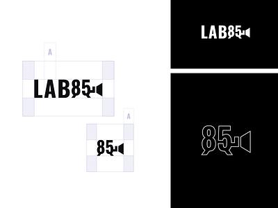 LAB85 Safe Area pictogram audiovisual fortaleza minimalist white black action movie logo brand