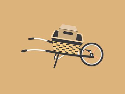 Wheelbarrow illustration minimalist farm tools graphic design flat design wheelbarrow