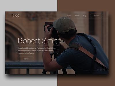 Photography Landing page concept ui ux web web-design minimalist photography figma landing-page