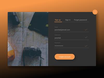 Sign up form. Daily UI #001 user-interface ux ui figma dark orange form registration-form registration sign-up-form daily-ui