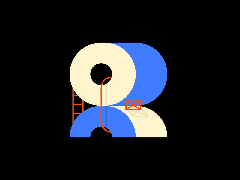 R - 36 days of type™ lettre circle creation conception construction icon coronavirus toiletpaper line blue design art vector 36dayoftype 3d typography graphisme type illustration work design
