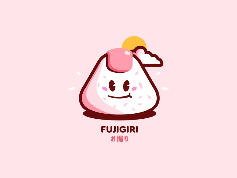 Fujigiri ! ✌ concept branding logo japanese sun type pink rice onigiri food cute characterdesign character cartoon fuji japan illustration graphisme work