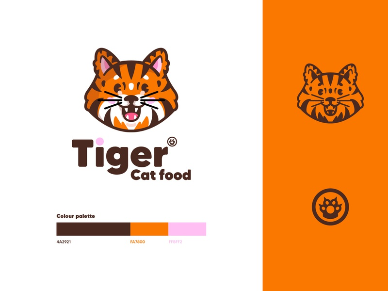 ✳ Tiger cat food - concept ✳ concept animal orange illustration graphisme vector typography logodesign identity branding mark logotype icon brand colour mascot logo food cat tiger