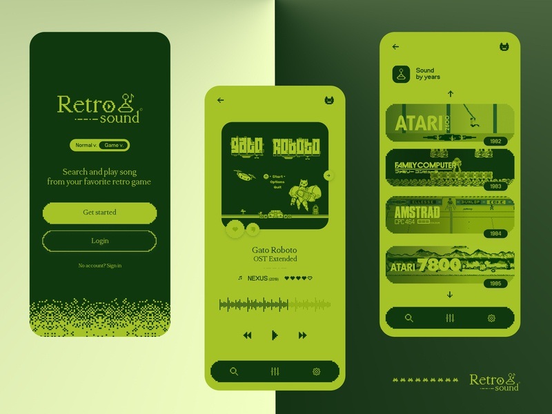 Retro sound ♪ - Ui concept icons application music app ui logo graphisme gameboy green brand interface design music player pixelart music mobile ux uxui interface pixel work design