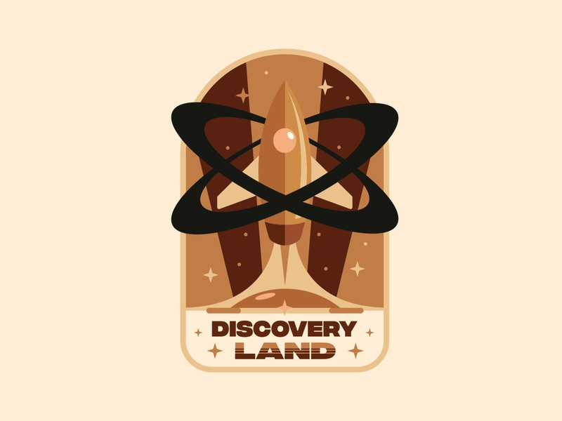 ✺ Discoveryland ✺ discovery infinite vector stars planet graphicdesign futur space rocket disneyland disney graphisme illustration work design logo badge design tomorrowland badge