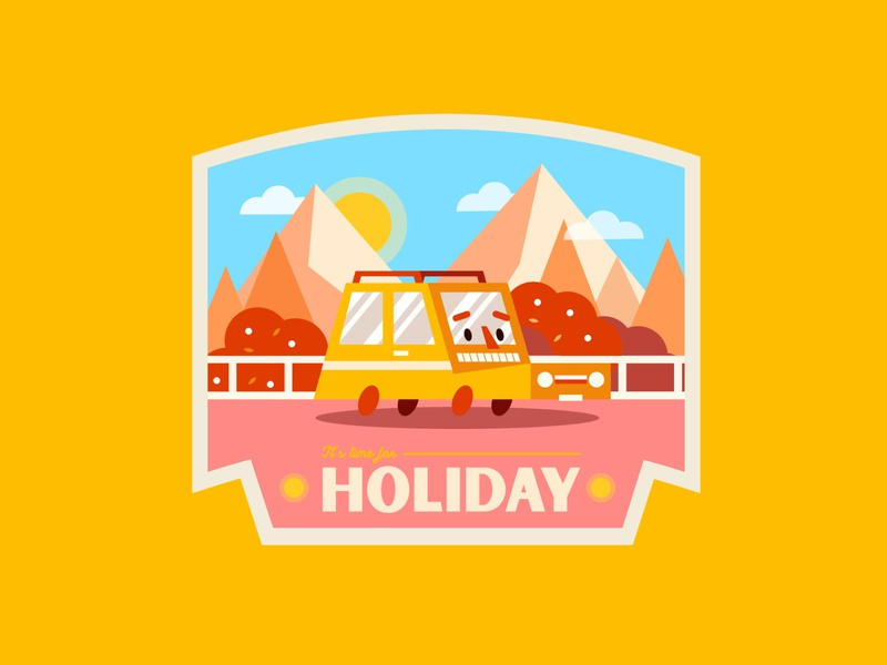 ✹ Holiday ✹ Badge yellow cute retro graphisme mountain vector logo badge design road character car sun typography design work illustration badge holiday