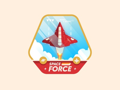 Space force ✨ imagination drawing color graphicdesign planet icon type spaceship art sky cloud fly work design logo graphisme illustration badge spaceforce space