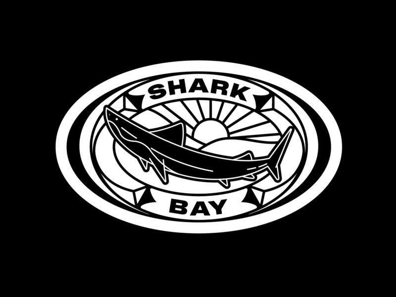✴ Shark bay ✴ shark logo drawing landscape brand badge logo sticker badge design badge fish shark icon logo design art black typography type illustration graphisme work design