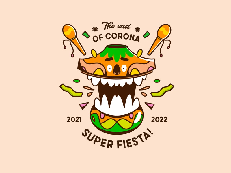 The end of corona ! logo design draw oldschool characters orange color fiesta design art vector badgedesign badge characterdesign logo typography type illustration graphisme work design