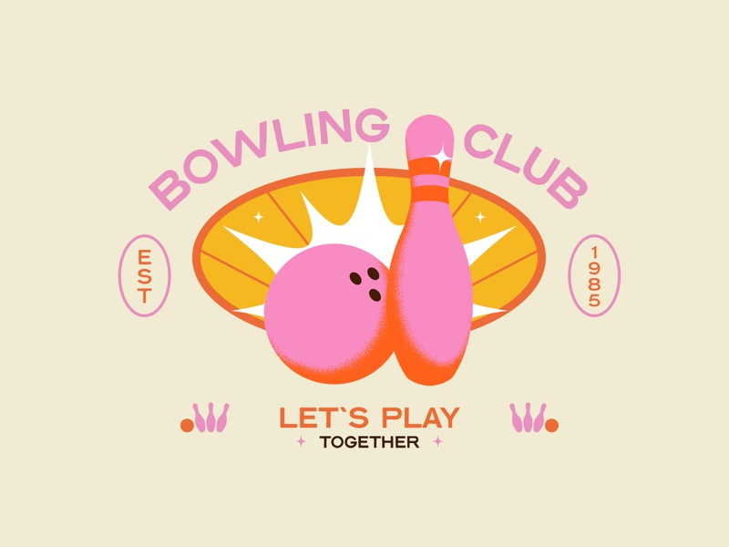 Bowling club ! pink yellow play hobbies graphicdesign art illustrations ball bowling badge logo illustration graphisme work design old school retro typography logo badge design badge