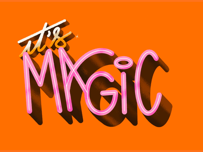 ✧ It's Magic ! ✧ imagination particle video stars magical orange lettering letters calligraphy animation 2d animation logo 3d typography type illustration graphisme work design magic