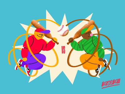 Baseball Versus ! vintage explosion colors fun ball imagination character characterdesign illustration art design art letter typography type illustration graphisme sports design baseball bat sport versus baseball