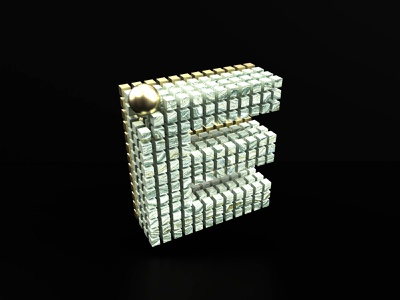 36 days of type - E octane c4d cinema 4d rendering gold marble texture marble cube square art 36dayoftype design art 3d letter type typography illustration graphisme work design