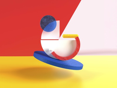 36 days of type - G c4d render typography art red blue graphic design color geometric g yellow 36dayoftype design art 3d letter type typography illustration graphisme work design