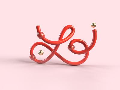 36 days of type - L pink sweet line red illustration 36daysoftype rendering work design graphisme letter type typography render motion graphics graphic design 3d