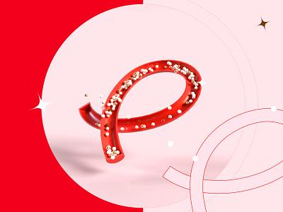 36 days of type - P ! 36daysoftype lettre rendering render imagination line red graphic design 3d letter type typography illustration graphisme work design