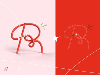 36 days of type - R ! pink octane render line lettre 36daysoftype red graphic design 3d letter type typography illustration graphisme work design