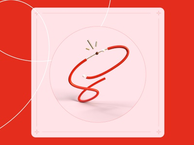 36 days of type - S ! line lettre s 36daysoftype red rendering render letter type typography illustration graphisme work design