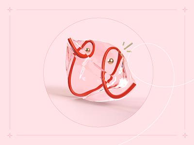36 days of type - U ! pink water typo line otoy red rendering render lettre u letter type typography illustration graphisme work design
