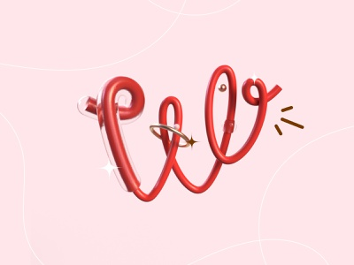 36 days of type - W ! graphic design line rendering red render 36daysoftype typo lettre w letter type typography illustration graphisme work design