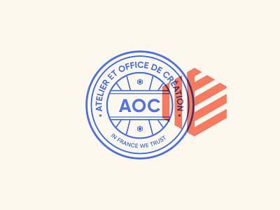 AOC — Atelier et Office de Création blason aoc icon orange blue branding logo graphisme letter illustration vector typography type work design