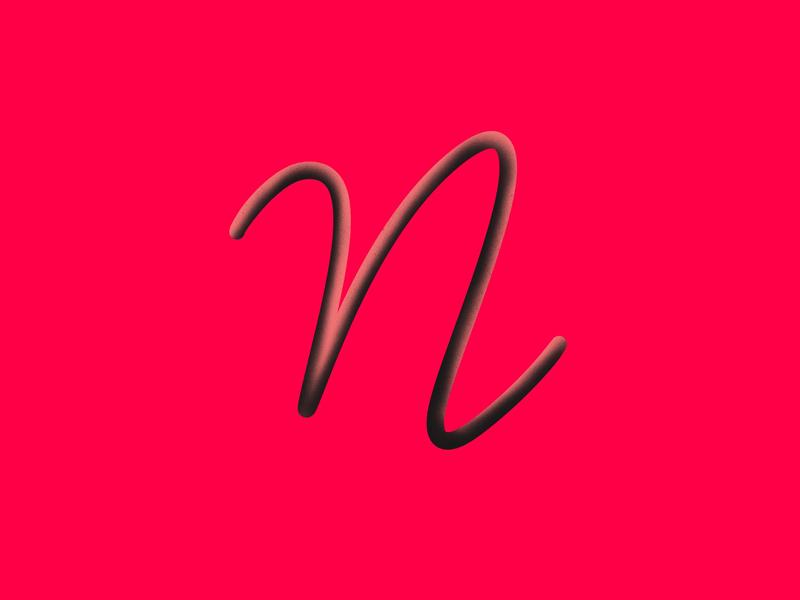 N - 36daysoftype lettre light dark forms shapes script line art line art red black 36dayoftype 3d letter graphisme illustration typography type work design