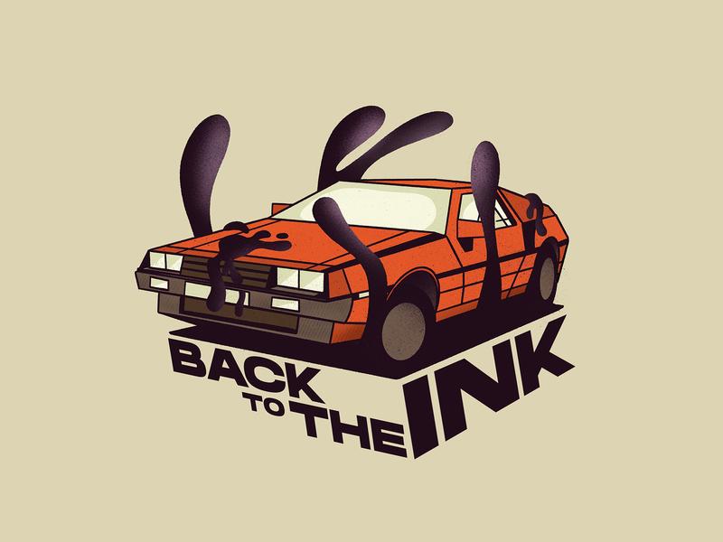 ➯ Back to the INK™ ➯ ⌚ car glasses purple ink orange back to the future dolorean design art art black 3d letter graphisme illustration typography type work design